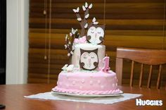 An Owl themed birthday cake. Set in the woodlands. For the 1st birthday or a gorgeous little girl.