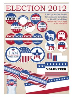 Free printables Election Day 2012 labels for both political parties, Republican and Democratic. I am and Independent labels!! Water Bottle Labels, name tags, address labels, I voted stickers, Volunteer and more by Inktreepress.com. Download at Worldlabel.com