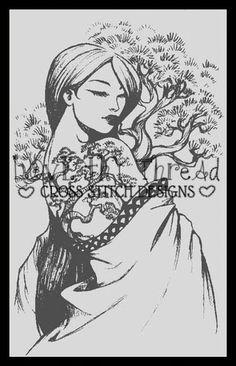 Bonsai tattoo Cross Sitch Chart By Sabine Rich | Love thy Thread