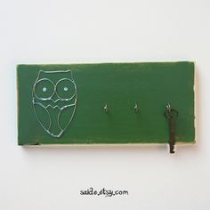 Green Wired Owl Key chain rack holder WOOD Wall Art home kitchen llaves. $19.95, via Etsy.