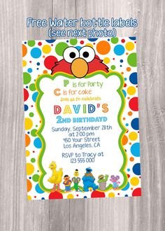 Sesame Street Water Bottle Labels Sesame Street First Birthday