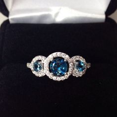 Beautiful Natural London Blue Topaz & White Sapphire Sterling Silver Ring…