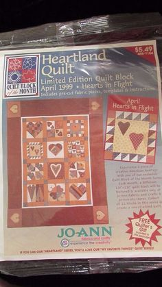 Heartland Quilt April 1999 Hearts in Flight Quilt Block of the Month NIP