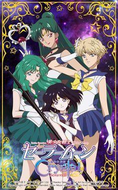 Crystal Sailor Pluto,Sailor Uranus,Sailor Neptune and Sailor Saturn
