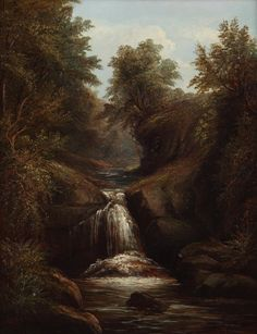 Joseph Mellor Waterfall Oil on Canvas x European Paintings, Oil On Canvas, 19th Century, Joseph, Waterfall, Outdoor, Art, Outdoors, Art Background