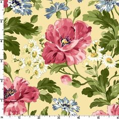 Poppies Large Flowers on Cream~Cotton Fabric By Maywood Studio - Sue's Creating Cottage Quilt Shop Fabric Roses, Floral Fabric, Floral Prints, Cotton Fabric, Botanical Prints, Layer Cake Patterns, Jelly Roll Patterns, Daisy, Etsy Fabric