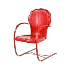 """mid-20th century vintage american made pressed and folded tubular red painted steel cantilevered """"shell-back"""" armchair - calumet manufacturing corporation"""