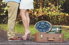 Couples, save the date, engagement, engaged, photoshoot, vintage suitcase, props
