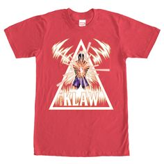 The Klaw - Dont be such a square! Be hip with the Marvel Triangle Klaw Red T-Shirt instead! A print of the supervillain Klaw, with his sonic emitter weapon, is portrayed jumping out of a white triangle on this red Klaw shirt.