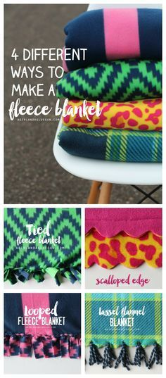 "Everything you ever wanted to know about making fleece blankets! first: Details! There are two kinds of fleece you can buy at Joann Stores…Blizzard Fleece and No pill Fleece. No pill fleece is a bit more expensive (by just a couple dollars) but it will hold it's softness longer and won't ""bead"" up like the cheaper fleece (hence the name No pill fleece!)...."