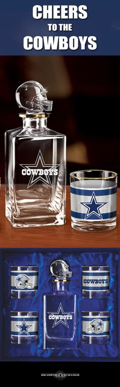 Raise a toast to your Dallas Cowboys with a handsome 5-piece decanter set. This officially-licensed NFL barware set includes a crystal-clear decanter with a team helmet stopper, 4 team icon glasses rimmed in gleaming 12K gold and a satin-lined gift box