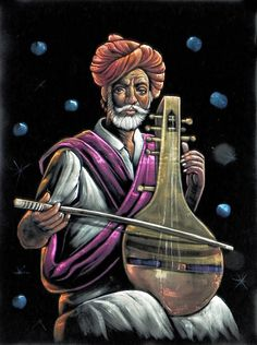 A Rajasthani Man Playing Sarangi (Painting on Velvet Cloth - Unframed))