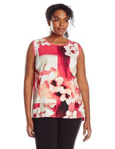 Calvin Klein Women's Plus-Size Sleeveless Floral-Print Top with Woven Front Shell * Don't get left behind, see this great  product : Plus size shirts