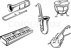 Stock vector of 'Musical instruments set'