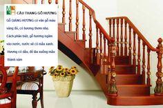 Cầu thang gỗ hương tự nhiên