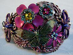 Floral Cuff Bracelet by Debra Beach / String Bead Studio.