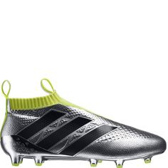 meet 711ee b4cec adidas ACE 16+ Purecontrol Primeknit FG Silver Metallic Core Black Solar  Yellow Firm Ground Soccer Cleats model AQ6356