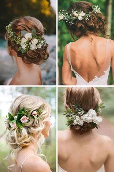new ideas boho beach wedding photos Boho Beach Wedding, Hairdo Wedding, Wedding Hair Flowers, Wedding Hair And Makeup, Flowers In Hair, Bridal Hair, Dream Wedding, Green Flowers, Wedding Hair Inspiration
