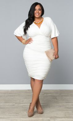 Forget your LBD and rock a LWD (Little White Dress) instead; like our plus size Rumor Ruched Dress.  www.kiyonna.com  #KiyonnaPlusYou  #MadeintheUSA  #Vegas