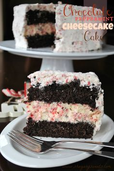 Chocolate Peppermint Cheesecake Cake- two layers of chocolate cake, a layer of peppermint cheesecake topped with creamy peppermint frosting