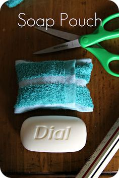 Turn a washcloth into a soap pouch! Perfect for camping/going to a cottage, etc.
