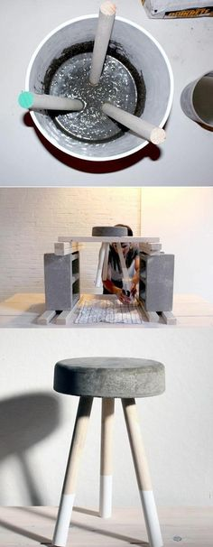 Would love to try working with concrete some day DIY kruk van beton. Would love to try working with concrete some day Concrete Stool, Concrete Furniture, Concrete Projects, Diy Furniture, Diy Concrete, Bedroom Furniture, Furniture Layout, Furniture Plans, Cement Table