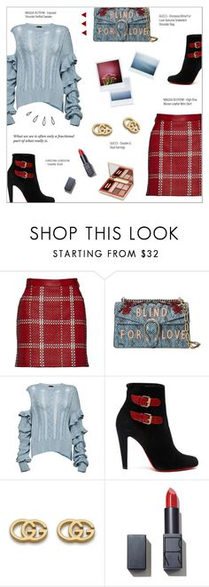 """""""FRACTIONAL PART"""" by larissa-takahassi ❤ liked on Polyvore featuring Magda Butrym, Gucci, Christian Louboutin, NARS Cosmetics, Estée Lauder, Old Navy, Boots, Sweater, gucci and ruffles"""
