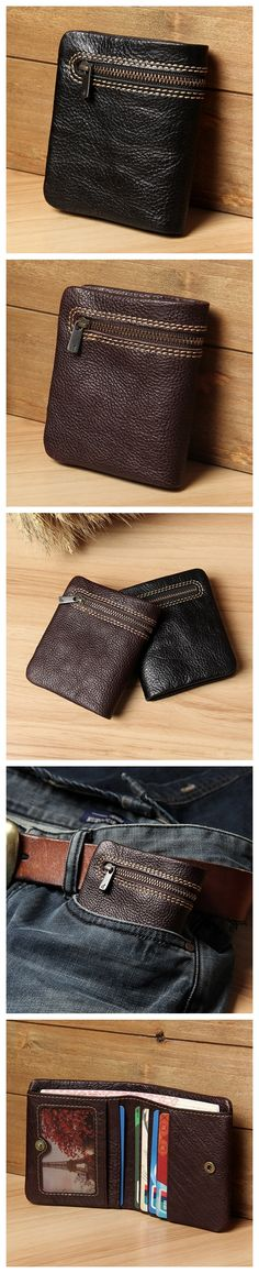 Handmade Genuine Leather Short Wallet Card Holder Leather Purse 14112
