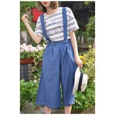 Basic Leisure Plain Straps Loose Casual Wide Legs Fashion Overalls... ($30) ❤ liked on Polyvore featuring pants, loose fit trousers, overalls pants, blue pants, blue trousers and wide-leg pants