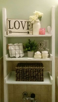 Rustic Over the Toilet Ladder Shelf choose finish Bathroom Toilet Shelves, Bathroom Shelves Over Toilet, Ladder Shelves, Toilet Storage, Diy Storage, Shelving, Bathroom Ladder, Master Bathroom, Bathroom Ideas