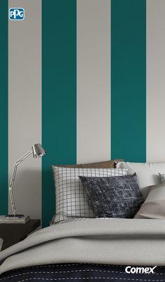 Utiliza líneas verticales para estilizar y generar la sensación de altura en tu habitación.#Inspírate, aplica el color como un experto.
