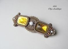automatic barrette  sutazhnaya embroidery, acrylic, glass, beads, agate