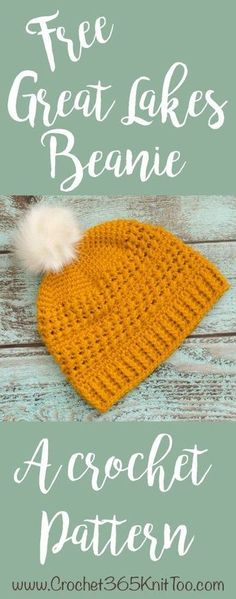 I love this crochet hat pattern! Great Lakes Beanie Crochet Pattern. Fun to make. Fun to Give.