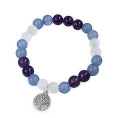 Náramek BALANCE Náramek z fialového ametystu, akvamarínu a matného skla s přívěškem stromu života. Beaded Necklace, Beaded Bracelets, Love, Beads, Jewelry, Beaded Collar, Amor, Beading, Jewlery
