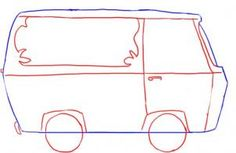 how to draw the mystery machine from scooby doo step 2