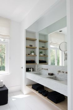 like the niche shelves on the side and the marble vanity - Modern Bathroom Laundry In Bathroom, Bathroom Renos, Bathroom Shelves, Bathroom Fixtures, Bathroom Storage, Bathroom Interior, Bathroom Black, Bathroom Ideas, Bathroom Marble