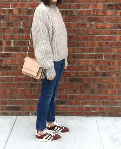isabel marant newt oversized beige knit sweater, marni nude trunk bag, and adidas gazelles