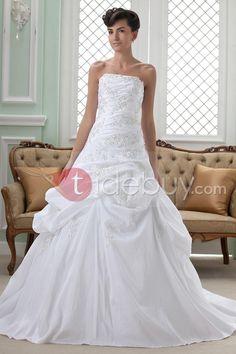 Gorgeous A-Line Strapless Chapel Wedding Dress