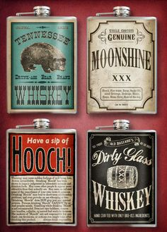 Amazing old timey flasks. Love! Perfect groomsmen gift for a vintage wedding!Any 4 Assorted - Stainless Steel Flasks - 8oz.. $88.00, via Etsy.