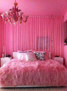 Pink bedroom for a teen girl