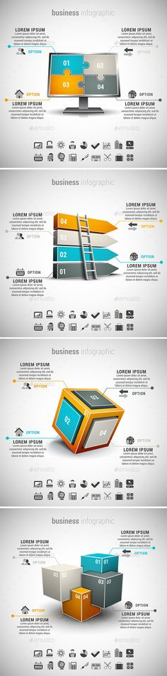 4 in 1 Business Infographics Bundle by grki Vector set of different business infographics. 22 icons inside each file. ZIP includes free font link, AI, PSD and high res Presentation Slides, Presentation Design, Business Infographics, Infographics Design, Strategy Map, Organizational Chart, Concert Flyer, Adobe Illustrator Tutorials, 4 In 1