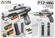 Concept Weapon Commission: ALTON Armaments P12-MAG Magnetic Accelerator Gun by aiyeahhs (sci-fi handgun/pistol)