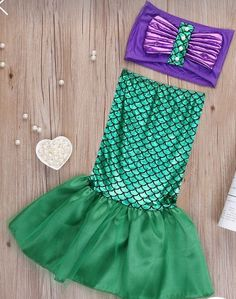Lovely and trendy Two Piece Mermaid Swimsuit - Small 2 to 3 years 24 cm Bust 22 cm Waist 38cm Lenght