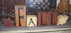 FALL LEAVES PRIMITIVE BLOCK SIGN SIGNS