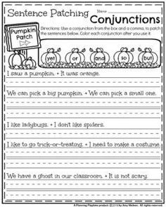 First Grade Fall Worksheets - Pumpkin Patching Conjunction Sentences.
