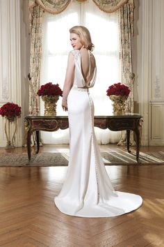 Stunning back! Style 8764 Luxe charmeuse straight #gown accentuated with a Sabrina neckline @jabridal