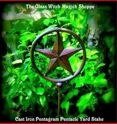 Image of Cast Iron Pentagram Pentacle Yard Stake (CT) (Z1)
