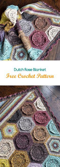 Dutch Rose Blanket Free Crochet Pattern #crochet #yarn #crafts #home #homedecor #style
