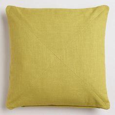 Oasis Green Cotton Herringbone Throw Pillow   World Market