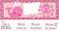 """Perfect for indoor or outdoor use, this customizable Ocean Preppy Girl Giant Party Banner is 60"""" wide x 20"""" tall, and features the smiling pink whale and octopus characters from the theme.  The octopus is holding a sign that you can white a special message on, or use the included """"Baby Shower"""", """"It's a GIRL!"""", """"Happy Birthday!"""", or """"Happy 1st Birthday!"""" stickers.  A great way to decorate!"""